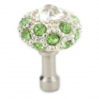 Cute Universal Crystal-inlaid Mushroom Adornment Anti-dust Plug for Cellphone - Silver + Green