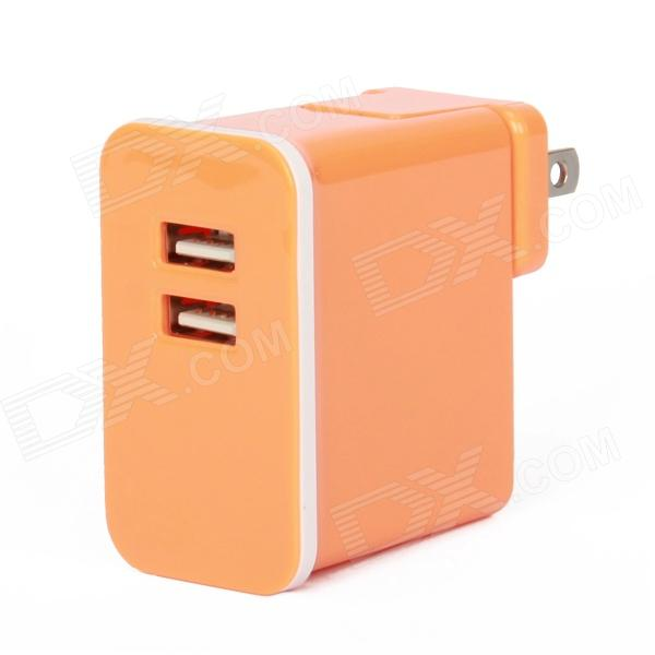 E-103 Dual USB AC Power Charger Adapter for Iphone / Ipad + More - Orange (US Plug / AC 100~240V) dual usb ac power charger adapter for iphone ipad white ac 100 240 eu plug
