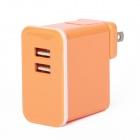 E-103 Dual USB AC Power Charger Adapter for Iphone / Ipad + More - Orange (US Plug / AC 100~240V)