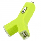 Unique Universal Y-shaped Dual USB Output Car Charger - Lime Green