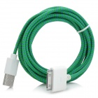 NL-203 Nylon Housing USB Male to Apple 30 Pin Data Sync & Charging Cable for iPhone 4S - Green (3m)
