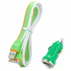 Car Charger + USB to 30-Pin Data/Charging Cable Set for iPhone 3GS / 4 / 4S / iPad - Green + Orange