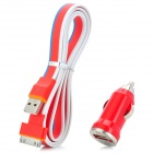 Car Charger + USB to 30-Pin Data/Charging Cable Set for iPhone 3GS / 4 / 4S / iPad - Red + Blue