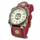 JINGYI PU Round PU Leather Band Analog Quartz Wrist Watch for Women - Wine Red + Bronze