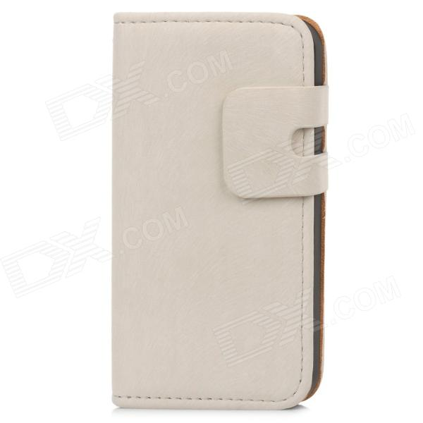 Fashionable Pine Leaves Pattern Protective PU Leather Case w/ Card Slot + Holder for Iphone 4 / 4S