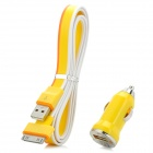 Car Charger + USB to 30-Pin Data/Charging Cable Set for iPhone 3GS / 4 / 4S / iPad - Yellow + Orange
