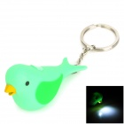 Bird Cartoon Style LED White Flashlight Keychain - Green (3 x AG10)