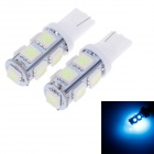 T10 0.9W 90lm 450nm 9-SMD 5050 LED Ice Blue Light Car Steering Lamps - (12V / 2 PCS)
