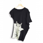 Stilvolle Glow-in-the-Dark-Antilope MESGE Frau Muster asymmetrischen Baumwolle T-shirt-Black (L)