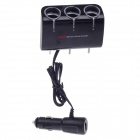 WF-071 1-to-3 Car Cigarette Lighter Power Splitter Adapter w/ USB Output - Black (DC 12 / 24V)