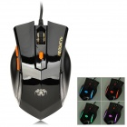 RAJOO G4 USB 2.0 Wired 800 / 1200 / 1800dpi Gaming Mouse w/ RGB Logo Light - Black