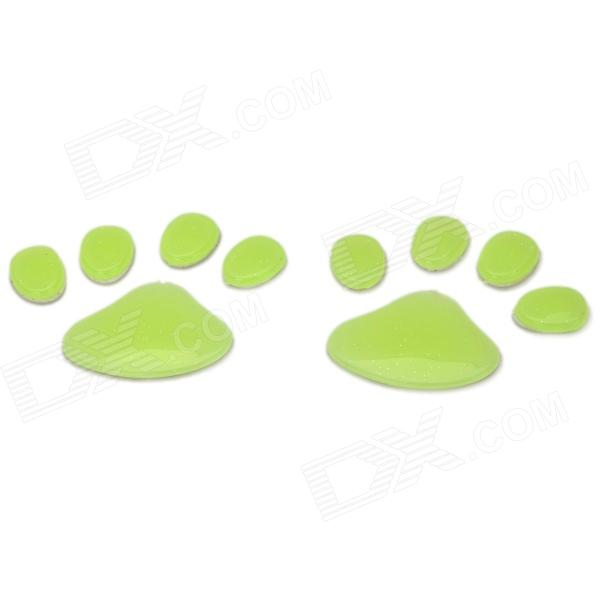 DIY Dog Footprint Glow-in-the-Dark Car Decoration Sticker Set - Green glow in the dark dog footprint style decoration wall paper sticker green