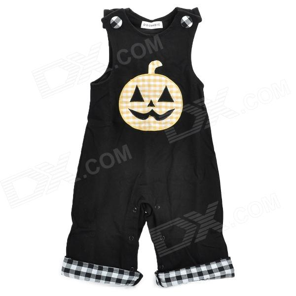Doomagic Pumpkin Pattern Toddler's Sleeveless Coverall Suit - Black