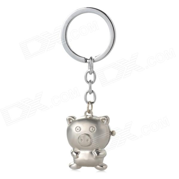 Cute Pig Style Flip Open Quartz Watch w/ Keychain - Silver (1 x 377)