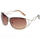 Panlees JHS3213 Fashionable UV400 Protection Sunglasses - Golden + Brown
