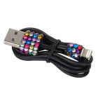 Kristall-Intarsien USB Male Male Lightning Data Sync & Ladekabel für iPhone 5 - Weiß (100cm)