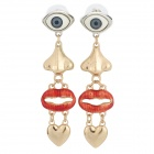 Auge Nase Red Lips Herz Stil Zinc Alloy Resin Earrrings (Paar)