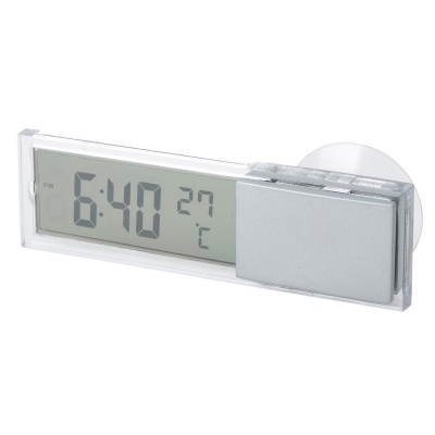 Portable Suction Cup LCD Thermometer + Clock - Transparent (1*L1131)