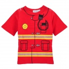 Doomagic Fireman Style Cotton Round Neck Short T-Shirt - Red + Yellow