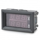 "0.28"" LED Red + Blue Dual-Display Digital Current Voltage Meter / Ampere-Voltage Meter - Black (10A)"