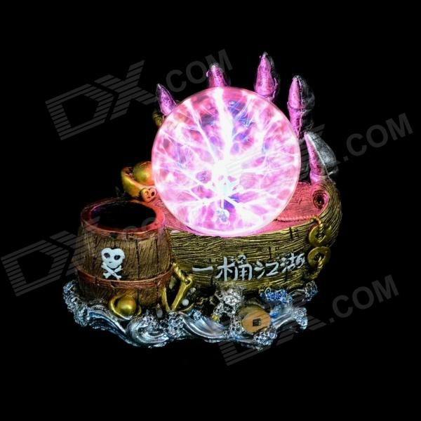 Skeleton Style Plasma Ball w/ Pen Holder - Golden (2-Round-Pin Plug / 220V)