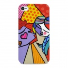 Graffiti Man & Woman Pattern Stylish Plastic Back Case for Iphone 4 / 4S - Multicolored