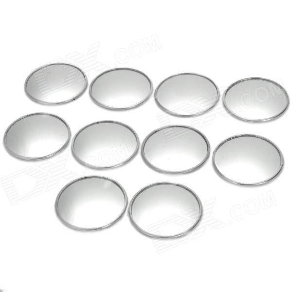 Auxiliary Round Mirror for Car Rearview Mirror - Silver (10 PCS)