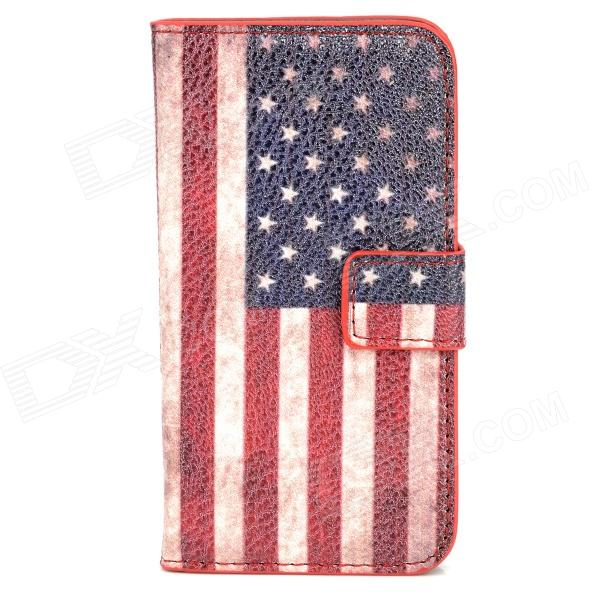 Fashion American Flag Pattern PU Leather Case for Iphone 4 - Red + White + Blue аксессуар чехол apple iphone se leather case red mr622zm a