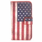 Fashion American Flag Pattern PU Leather Case for Iphone 4 - Red + White + Blue