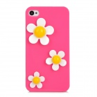 3D Flower Pattern Stylish Plastic Back Case for iPhone 4 / 4S - Deep Pink + White + Yellow