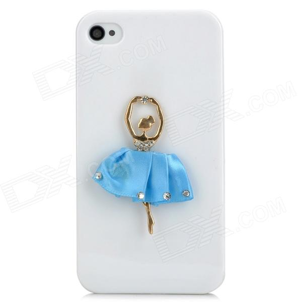 3D Ballet Girl Pattern Stylish Plastic Back Case for Iphone 4 / 4S - White + Blue