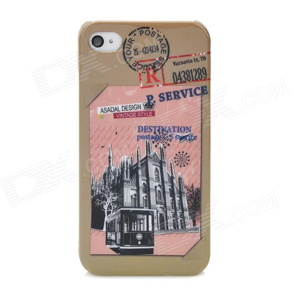 Protective Vintage Postage Building Pattern Plastic Back Case for Iphone 4 / 4S - Colorful colorful feather pattern protective plastic case for iphone 5