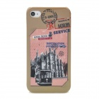 Protective Vintage Postage Building Pattern Plastic Back Case for Iphone 4 / 4S - Colorful