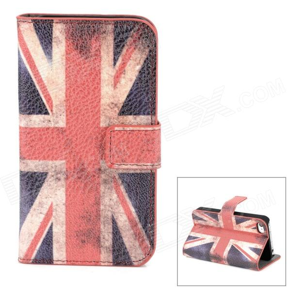 Fashion UK Flag Pattern Wallet Style PU Leather Case for Iphone 4 / 4S - Multicolored