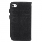 Protective Tree Grain Style Wallet PU Leather Case for Iphone 4/4S - Black