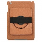 Protective PU Leather + PC Back Case w/ 360 Degree Rotation Hand Strap Holder for Ipad MINI - Brown