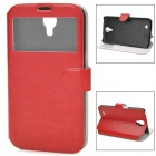 Protective PU Leather Flip Open Case w/ Open Window for Samsung i9200 - Red