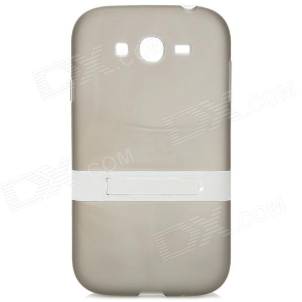 Protective Silicone Back Case w/ Flip Stand for Samsung i9082 - Transparent Grey + White