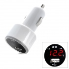 DINKY DK03 Car Voltage Monitor USB Car Cigarette Lighter Charger - White (12~24V)