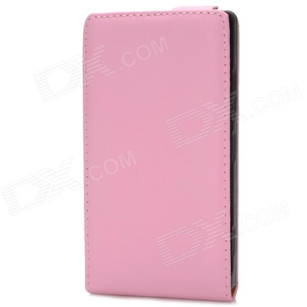 Protective Top Flip Open Leather Case for Nokia 925 - Pink