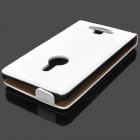 Protective Top Flip Open Leather Case for Nokia 925 - White