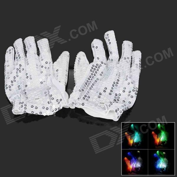 Y-676 Color Changing 5-LED Flashing Sequin Gloves - White (Pair / 2 x CR2032)