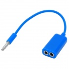 3.5mm Male to Dual 3.5mm Female Audio Adapter Cable - Blue (18cm)