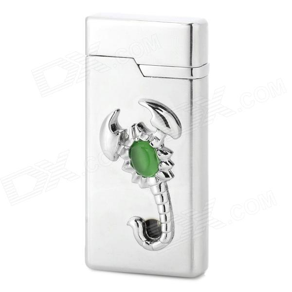 Scorpion Style Aluminium Alloy Butane Lighter w/ LED Light - Silver chili pepper style zinc alloy butane gas lighter green