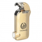 YingWang Rechargeable Eagle Head Style Butane Lighter w/ LED Light Currency Detector - Golden