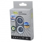 3-in-1 180 Degree Fish Eye Wide Angle Macro Lens for Iphone + Ipad - Silver + Black
