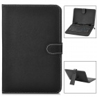 "80-Key QWERTY Micro USB Wired Keyboard with Protective PU Leather Case for 9"" Tablet PC - Black"