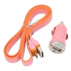 Car Power Charger + USB Male to Micro USB Male Data & Charging Flat Cable - Orange + White + Pink