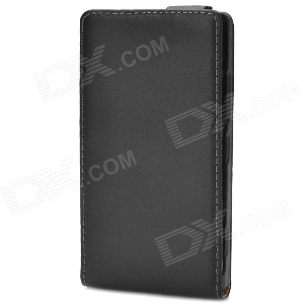 Protective Top Flip Open Leather Case for Nokia 925 - Black