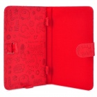 "Cute Cartoon Style Protective PU Leather Case for 7"" Tablet PCs - Red"